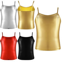 Girls Spaghetti Straps Camisole Tank Top Kids Shiny Metallic Vest Dance Wear