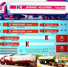 Arne KLOSE Danmark SCANIA 141+142 para 4 Camiones 1:87 ADHESIVO PEGATINA Camión