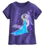 Disney Store Authentic Frozen Queen Elsa Girls Glitter T Shirt sz 5/6 7/8 10/12