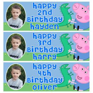 GEORGE PIG PHOTO Personalised Birthday Banner - Peppa Pig Birthday Party Banner