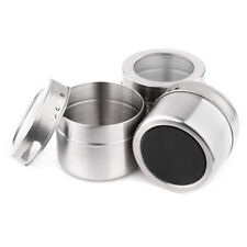 New Stainless Steel Magnetic Spice Storage Jar Tins Container With Clear Lid 1pc