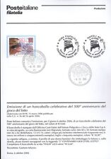 ITALY 2006 GAME LOTTO BULLETIN COMPLETE WITH STAMPS FDC