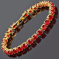 Xmas Women Party Round Cut Red Ruby Dainty Gem 18K Gold Plated Tennis Bracelet