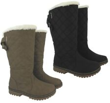 WOMANS LADIES QUILTED FUR LINED MID CALF WARM SNOW WINTER GRIP SOLE BOOTS SHOES