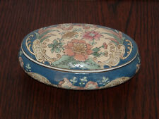"""Trumpet Tapestry Toyo Porcelain Trinket Box with Lid 7"""" Long Flowers Blue Oval"""