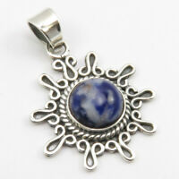 "925 Sterling Silver Sodalite Necklace Pendant 1.7"" Fashion Handmade Jewelry"