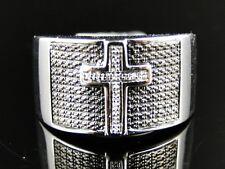 Mens .925 White Gold Finish White Genuine Diamond Pave Setting Cross Ring .10 Ct