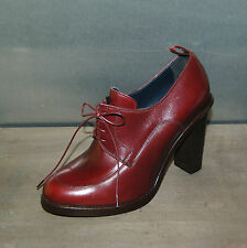 36 - LACEUP DERBY BORDEAUX - ROANO CALF - LEATHER SOLE - HEEL H.10cm