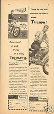 1961 Johnson Motors Inc Trusty Triumph Motorcycle 2 Different Print Ads