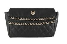 NWT Bebe Black Jenny Leather Quilted Clutch Handbag Сумка Gold Hardware $72.50