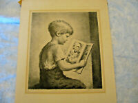 Vintage lithograph drawing boy with book signed by artist James Chapin 1940s