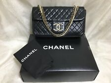 "Authentic Rare Chanel 10"" Westminster Black Lambskin Single flap Bag Pearl & GHW"