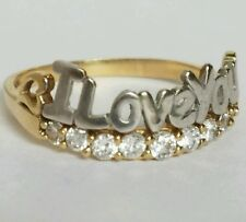 10K yellow white gold I love you ring S 6.5
