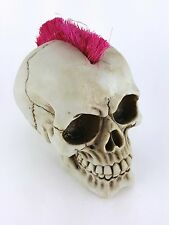 Collectible PUNK ROCKER SKULL WITH PINK MOHAWK Handpainted Resin Statue