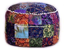 """Bohemian Patchwork Pouf Ottoman,Mandala  Indian Pouf In Multi Color, pouffe 24"""""""