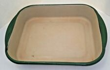 Enamel Cake Pan Cream ivory with Green Trim casserole or oven roaster 10x8
