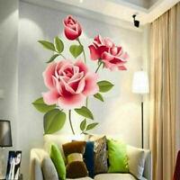 Rosa Rose Blumen Wandsticker Aufkleber Vinyl Kunst Home Zimmer Dekor Abnehm B9Y1