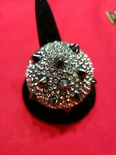 Cocktail Ring Costume Jewelry Black With Rhinestones Bold Statement Piece