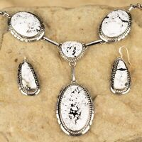 Native American Sterling Silver BIG White Buffalo Stone Earring Necklace Set- AL