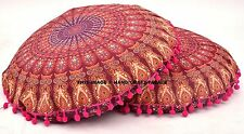 "2 PC Indian Peacock Mandala 32"" Floor Pillow Meditation Cushion Cover Ottoman"
