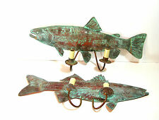 Copper Fish Wall Sconces, Hardwire, Cabin Or Lake House Decor