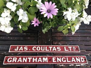 J Coultas Cast Iron makers signs GRANTHAM Lincolnshire ( Farm Tractor ? ) *PAIR*