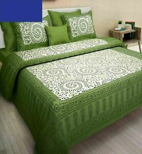 Green Color Cotton Handmade Double Bed Sheet With 2 Pillow Cover Occasion Gift