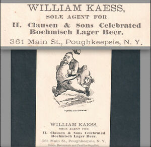 Clausen Beer Poughkeepsie NY Boehmisch Lager Kaess Ad Flying Dutchman Trade Card
