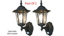 Pack Of 2 Elegant Outdoor Wall Light - 6-Panel Glass Style With Ir Motion Sensor