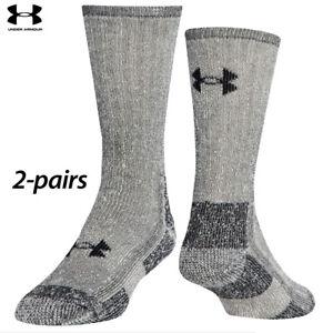 UA Socks: 2-PAIR ColdGear Boot Crew (L) Grey Marl
