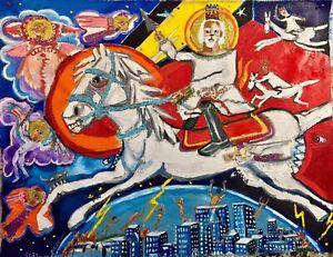 39x30 Yah Primitive Outsider Rural Oil Mixed Media Canvas Folk Art