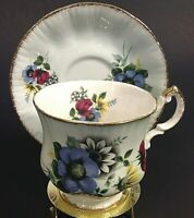 PARAGON CUP & SAUCER HAND PAINTED & SIGNED FLORAL BRUSHED GOLD ACCENTS