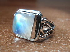 Elegant Moonstone Square Ring 925 Sterling Silver Solid and Heavy Sz 5 thru 9.5