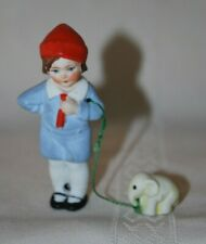 Antique Hertwig German Bisque Dollhouse Doll with Leashed Pet Girl with Elephant