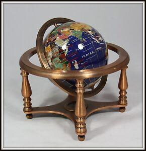 Hand Made Semi-Precious Stone World Globe on a Copper Stand