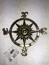 Brass Compass Rose 8� Nautical Maritime Wall Decor Beach Seaside Solid Brass New
