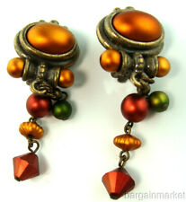 Long Vintage Style Antiqued Bronze Dangle Clip On Earrings