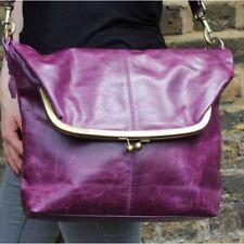 Fold Over Genuine Purple Leather Cross Body Bag