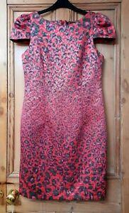 Giambattista Valli Shift Dress Red Pink Black Animal Print Cap Sleeves Size 8