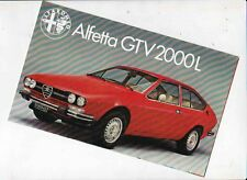 1979 ALFA ROMEO ALFETTA GTV 2000L Italian Small Format Brochure in English
