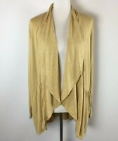 Logo Lori Goldstein Womens Open Cardigan Size M Stretch Mustard Yellow Pockets