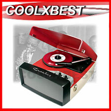COLLEGIATE VINTAGE STYLE PORTABLE TURNTABLE RECORD PLAYER w SPEAKER USB AUX IN