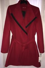 NWT Size 8 CALVIN KLEIN WOOL COAT Red $325 Tie Trench Black Trim CASHMERE Snaps