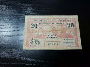 🇳🇨 New Caledonia 20 francs 1943 WWII P-57b Banknote Money 051621-6