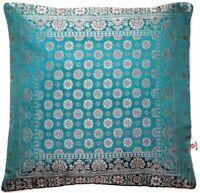 Handgefertigt Türkis Dekokissen aus Indische Banarasi Seide - 40 cm x 40 cm