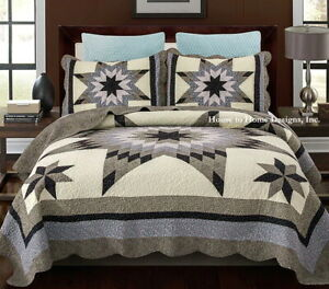 BLUE LONE STAR 3pc Cal King ** QUILT SET : IVORY COTTON 8 POINT FLORAL FARMHOUSE