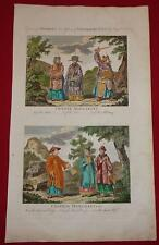 1790 Antique Print CHINESE MANDARIN MERCHANT Engraving HAND COLORED Robes DRESS