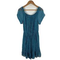 Cloe Cassandro Womens Silk Dress Size Large Blue Short Sleeve Scoop Neck Peplum