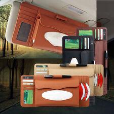 Sun Visor Car PU Leather Napkin Paper Tissue CD Box Bag Holder Accessories