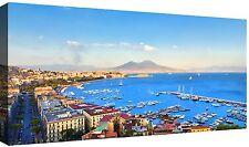 Quadri Moderni cm 120x60 stampa su tela 1 pz Quadro Moderno Mare Città Napoli 3